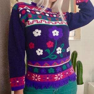 Vintage 80s purple fringe flower power sweater XS